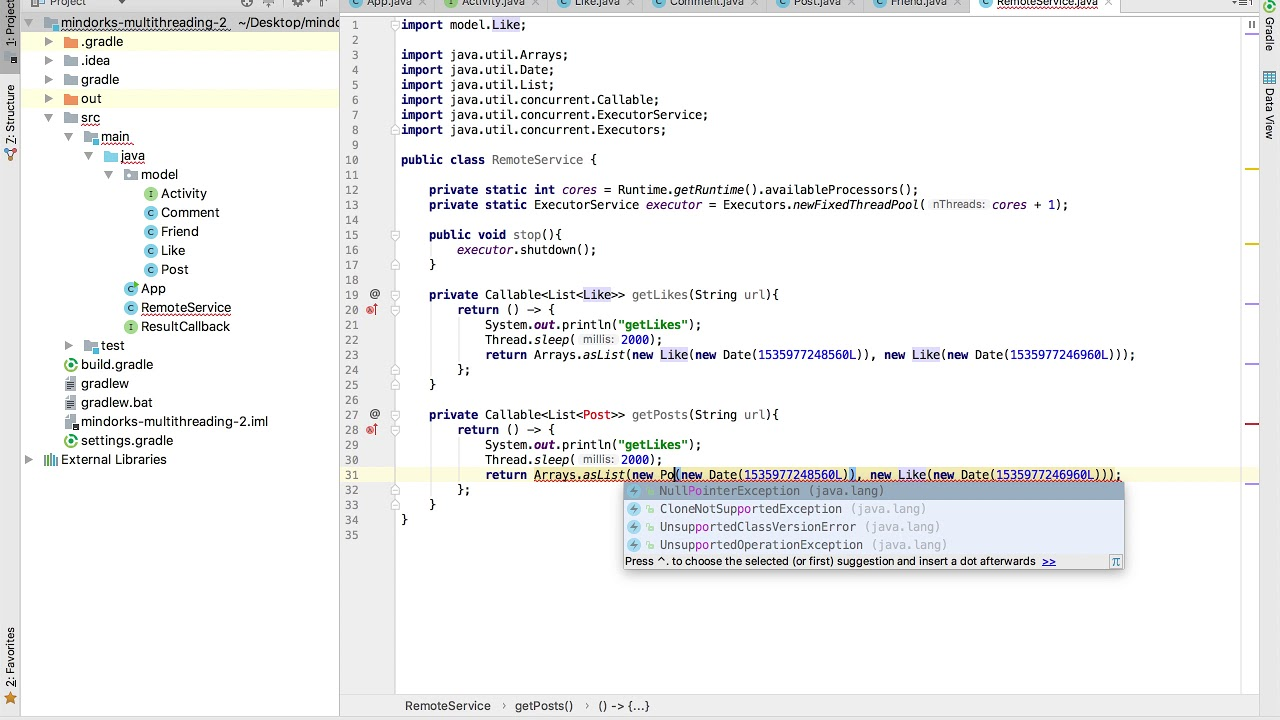 Tutorial: Java And Android Multithreading, ThreadPoolExecutor, Callable and  Future: Part 5