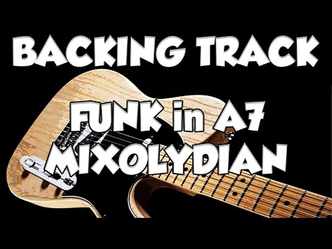 Fusion Funk Mixolydian Groove Guitar  Backing Track Jam in A