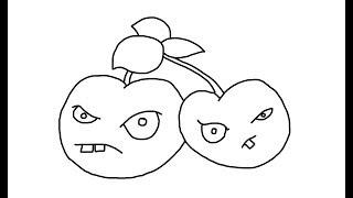 Cherry Bomb plants vs zombies 2 How to draw a easy? Вишнёвая бомба Как нарисовать просто?