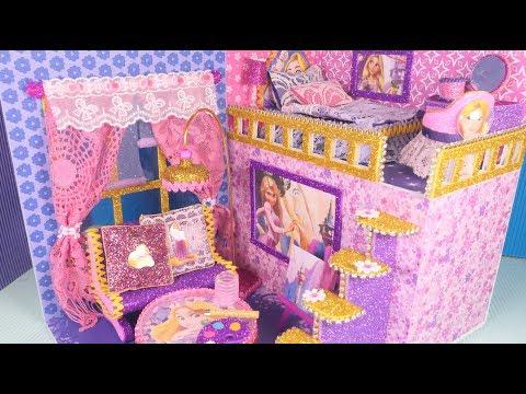 DIY Miniature Dollhouse Disney princess Rapunzel bedroom and Livingroom Decor~!