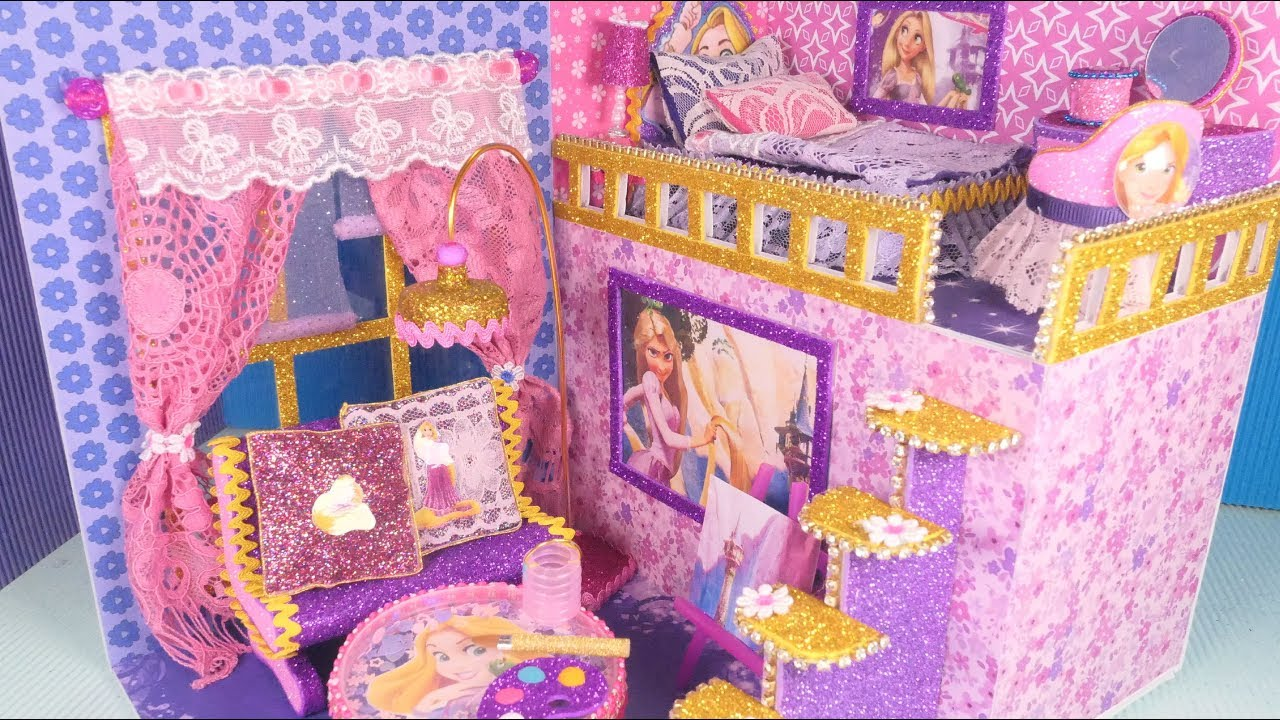 Diy Miniature Dollhouse Disney Princess Rapunzel Bedroom And Livingroom Decor Youtube