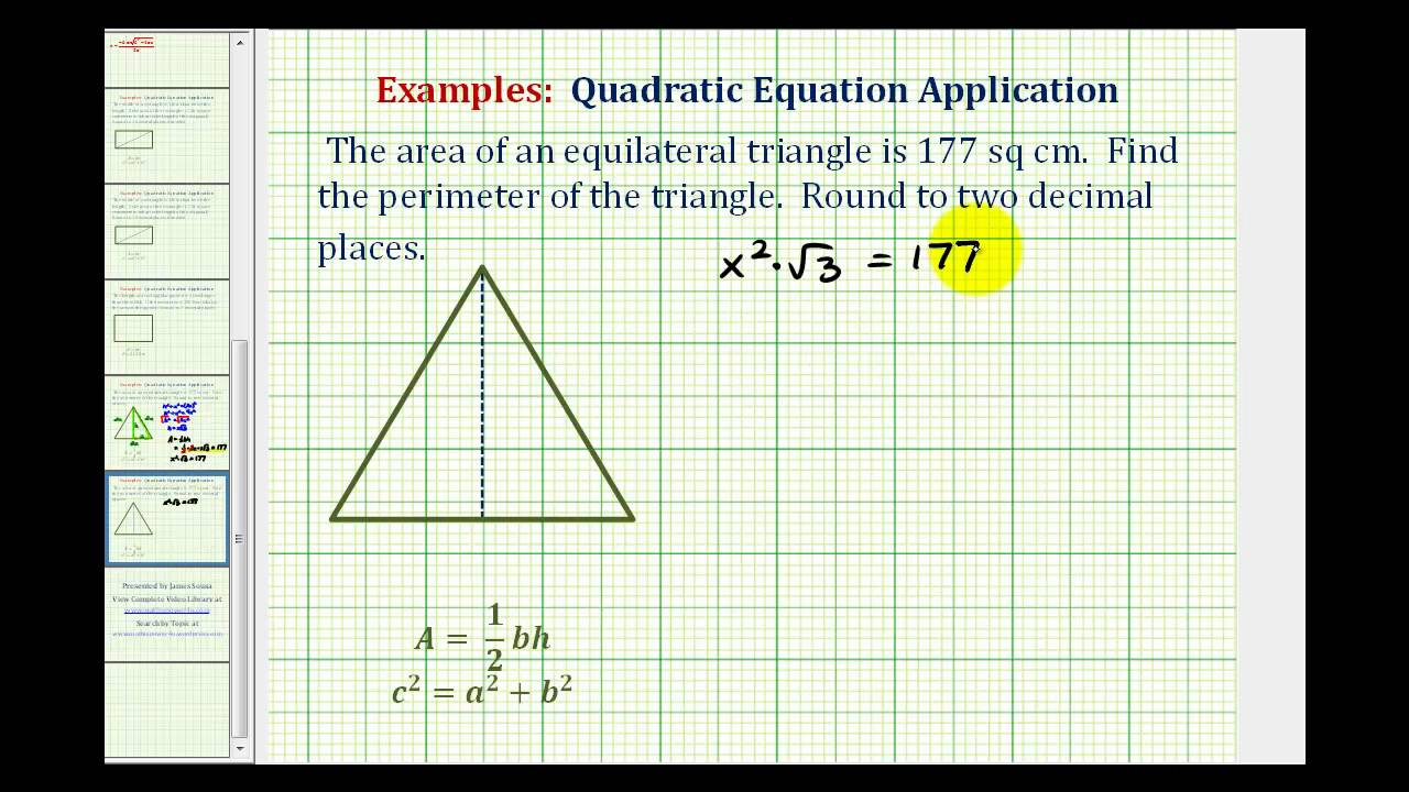 Ex: Find The Perimeter Of An Equilateral Triangle Given The Area Without  Trigonometry