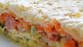 Слоеный салат с грибами. Рецепт.