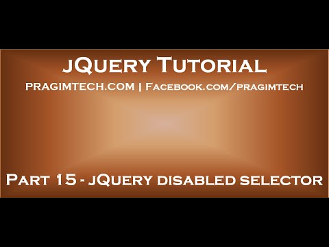 JQuery Disabled Selector