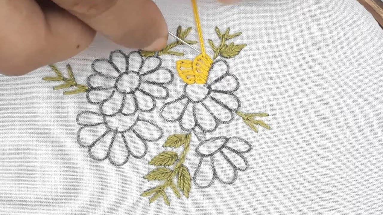 hand embroidery simple all over design with back stitch for dress
