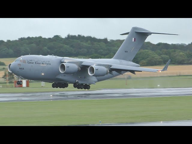 [4K] Qatar Emiri Air Force Boeing C17A Globemaster III Wet Landing at Prestwick Airport