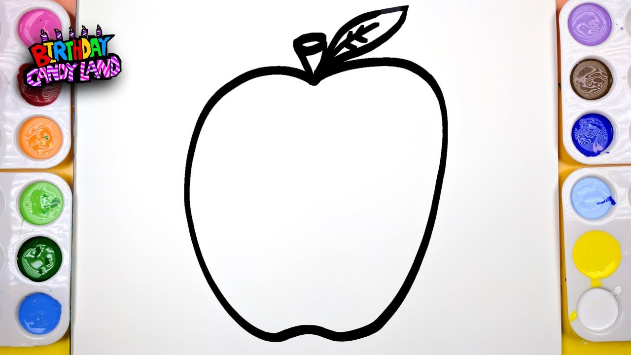 draw color paint apple fruit coloring page for kids to learn