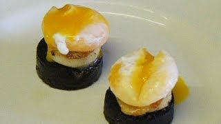 How to cook,SCALLOPS, Pan fried Scallops,with Black Pudding and a melting, poached Egg yolk.