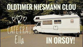 Mit dem Niesmann Clou Oldtimer Wohnmobil zum Café Frau Ella in Orsoy