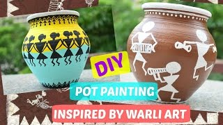 DIY Pot painting inspired by Warli art - Ancient Indian art