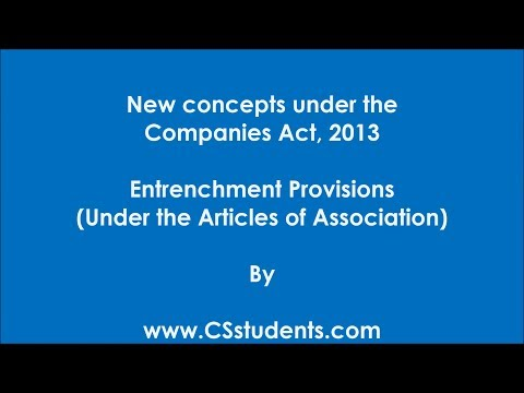 Entrenchment Provisions in the Articles (cs coaching)