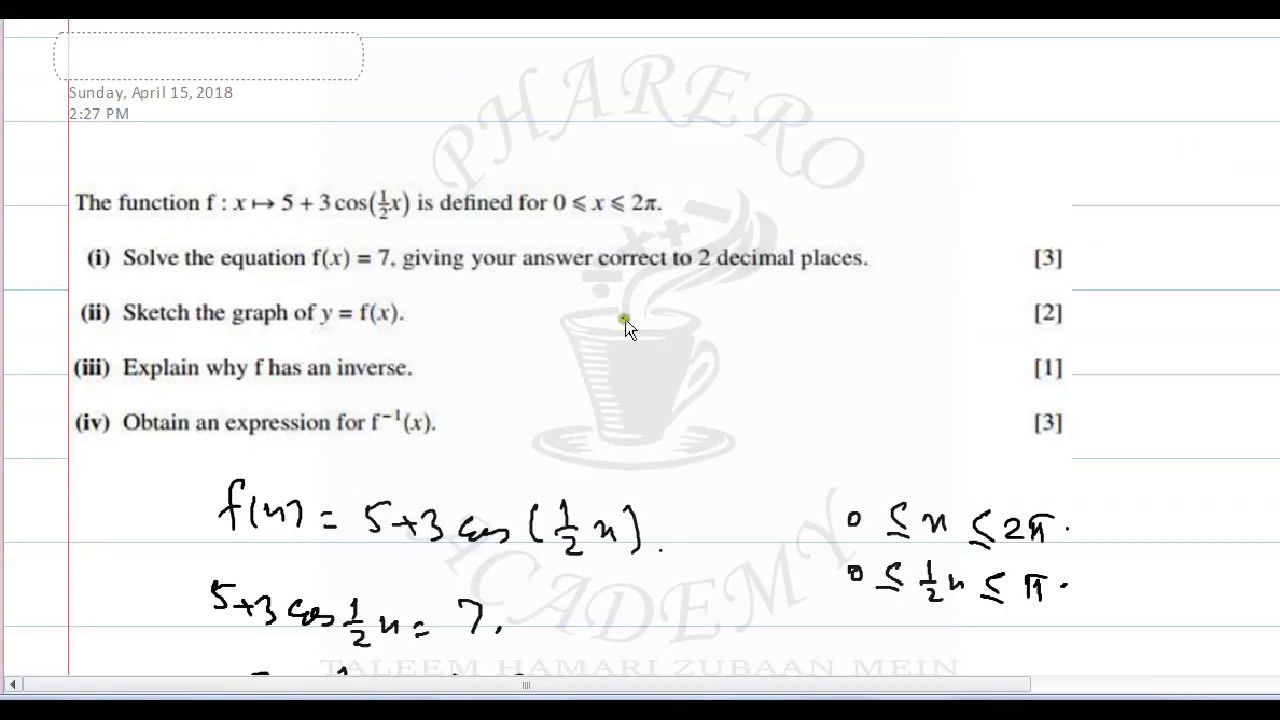 solving f x 7 and sketching graph of y f x and finding its