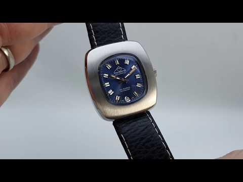 C1970 Mondaine Men's Vintage Automatic Watch With Blue Dial.   NOS