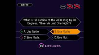 JemFan777's 2nd game of Who Wants to be a Millionaire: 3rd Edition for the PS1