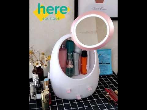 2019 new fashion led hd mirror makeup storage box cosmetic organizer case