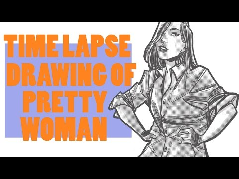 Drawing A Pretty Woman In Men's Shirt | Time Lapse Drawing