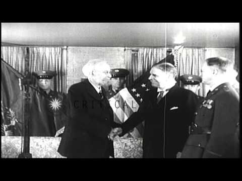 Secretary of War George Dern awards the Medal of Honor to General Greely in the U...HD Stock Footage