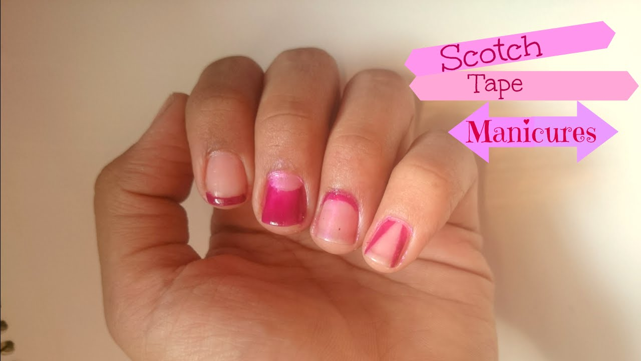 Easy Nail Art Ideas Using Scotch Tape Youtube