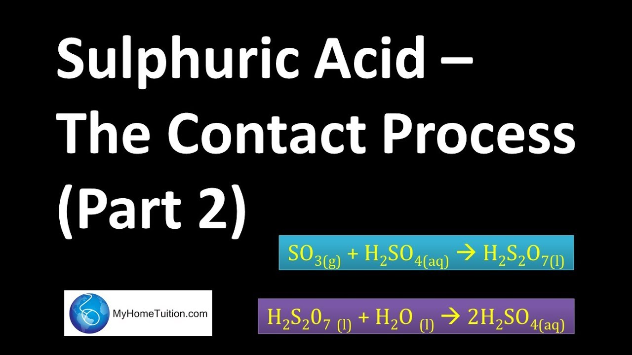 the contact process The contact process has been improved in all details and in the current scenario is one of the low-cost industries and is the almost wholly automatic continuous process for the manufacture of sulfuric acid.