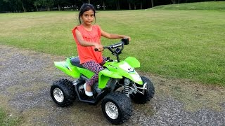 HUGE KIDS Kawasaki Quad Bike Kids Ride On SURPRISE UNBOXING & Assembly Playtime ATV