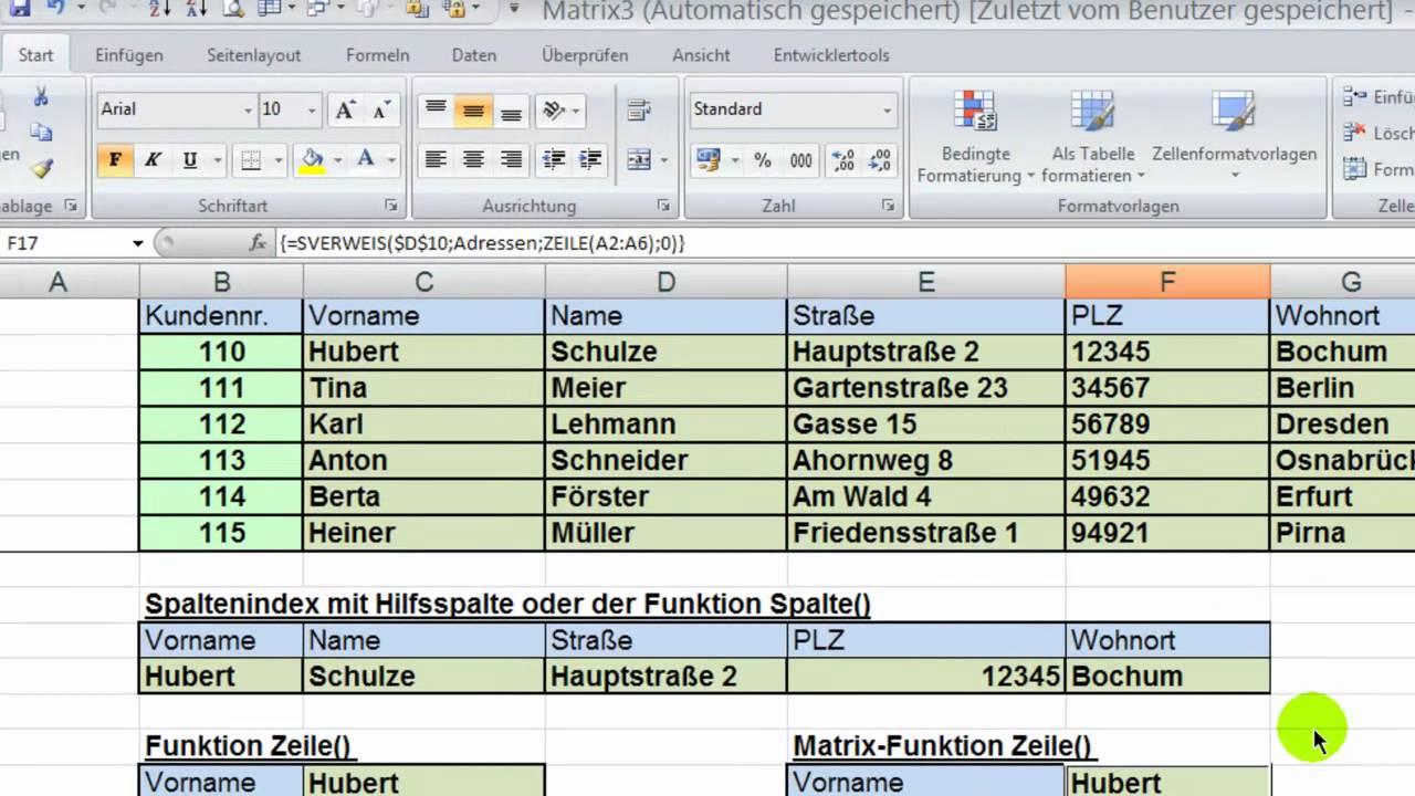 Excel - SVERWEIS & SPALTENINDEX mit Funktionen Spalte(), Zeile() &  Vergleich()