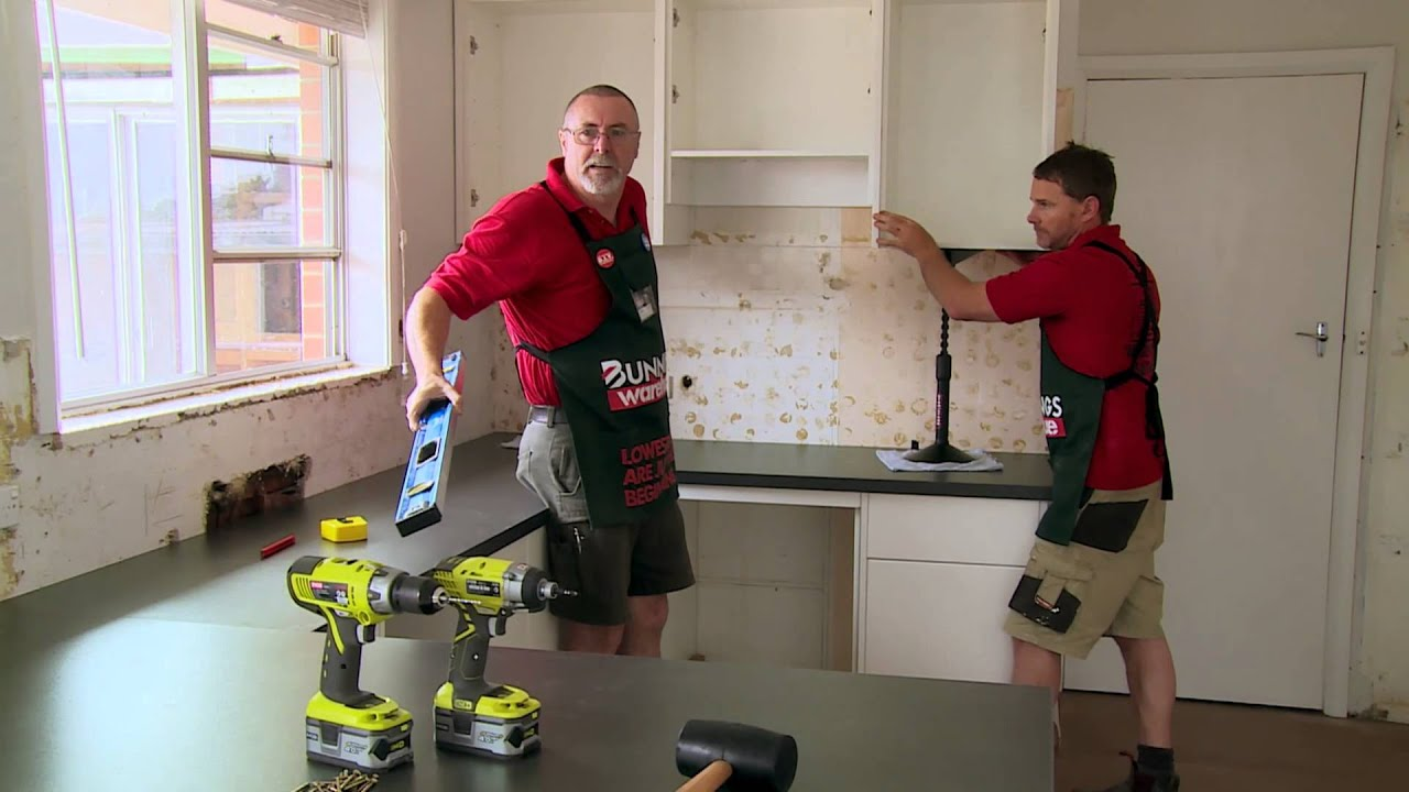How To Install Kitchen Wall Cabinets - DIY At Bunnings - YouTube