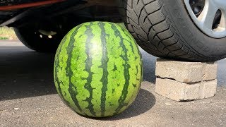 EXPERIMENT: WATERMELON VS CAR - Crushing Crunchy & Soft Things by Car!