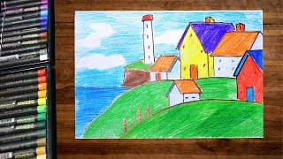 How to draw landscape village scenery drawing beside sea using color pencil - step by step