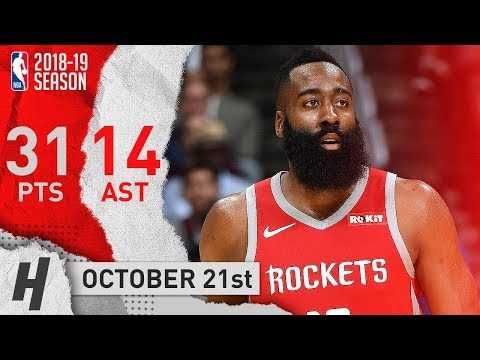 James Harden Full Highlights Rockets vs Clippers 2018.10.21 - 31 Pts, 14 Assists