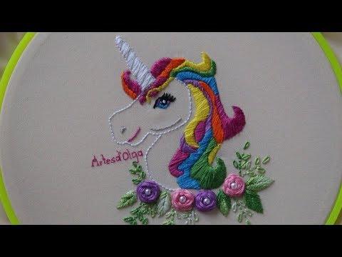 Hand Embroidery: Rainbow Unicorn  Unicornio Arcoíris Bordado a Mano  ArtesdOlga
