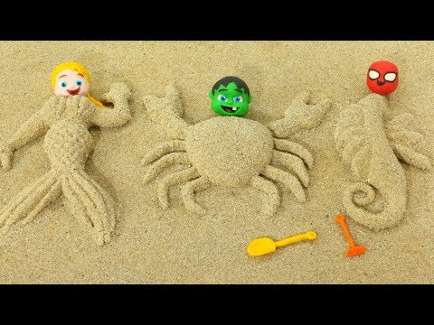 Superhero Babies Play with Sand ❤ Hulk & Frozen Elsa Play Doh Cartoons & Stop Motion Movies