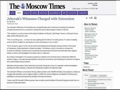 10 Jehovah's Witnesses charged in Moscow. JW.org . Moscow Times News article. Russia.