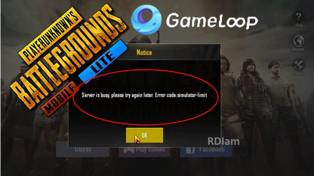 How To Fix Error Code Simulator Limit Server Is Busy Problem On Gameloop For Pubg Mobile Lite