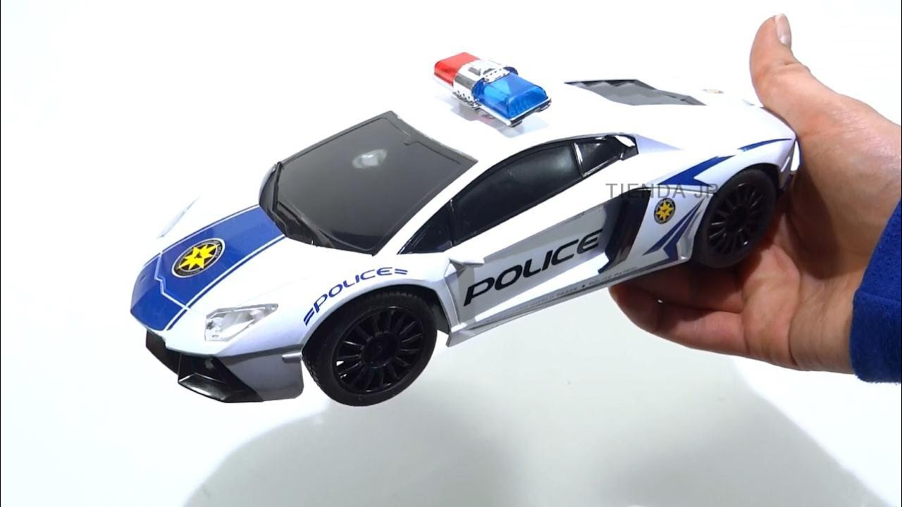 Carro De Juguete Lamborghini Policia Control Remoto Recargable Luces Led Police Rc Car Youtube