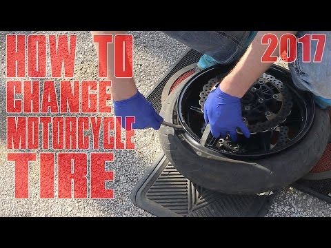HOW TO Change A Motorcycle TIRE By Hand DIY Tutorial Changing Front Street Bike Tubeless TIRES 2017
