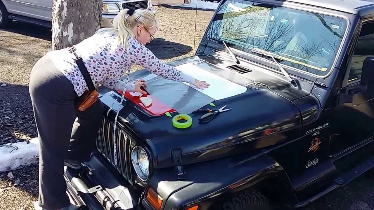 Jeep hood decal installation
