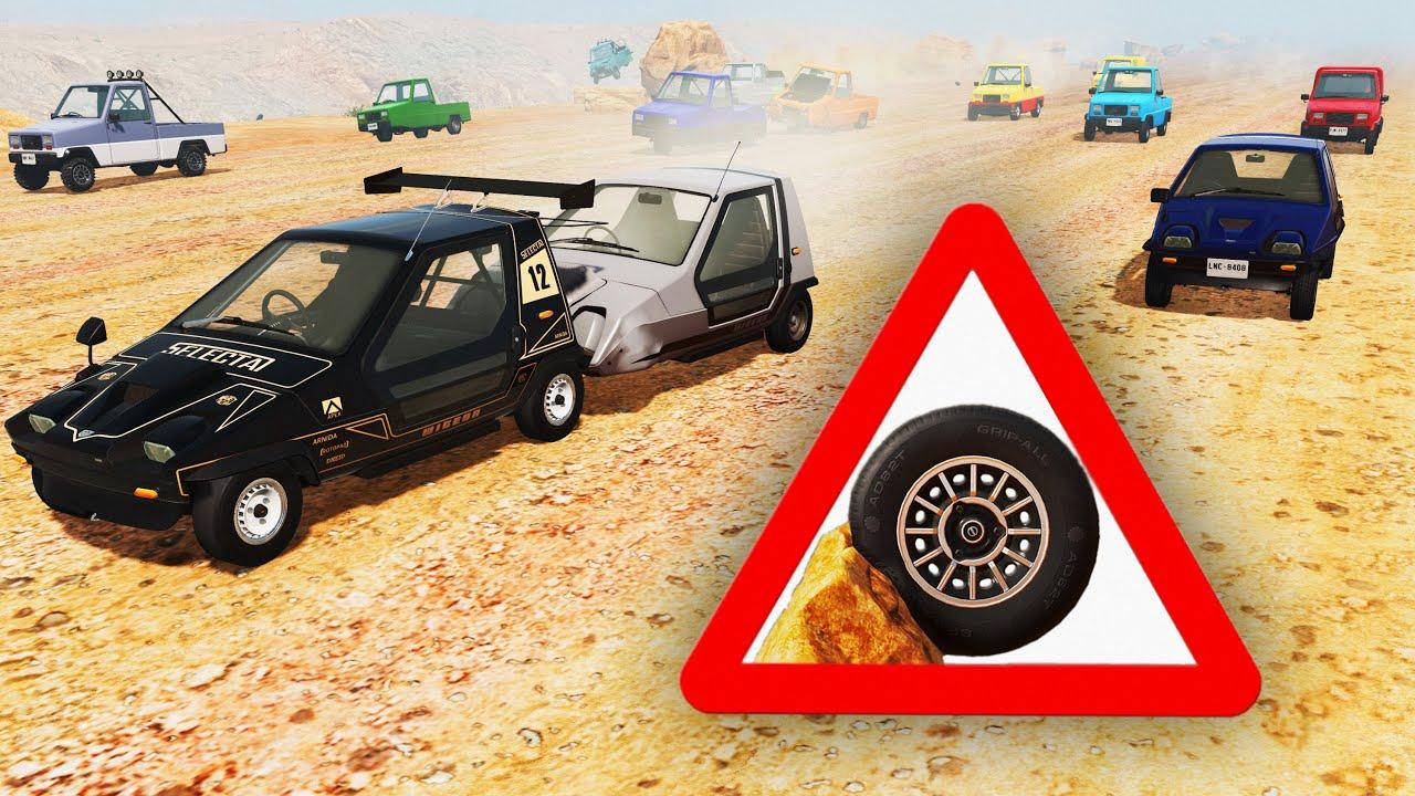 BeamNG Drive - Racing The Pigeon & Wigeon On The Long Desert Road (Small Wheels & Rocks)