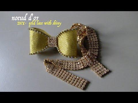 Noeud D'or De Ruban D'organza -Gold Bow Of Organza Ribbon