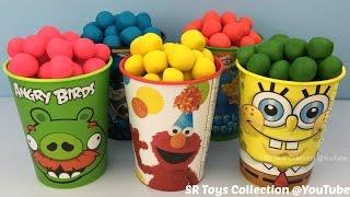 Angry Birds Elmo SpongeBob Batman Surprise Cups with Toys Peppa Pig Mini World & Kitty in my Pocket