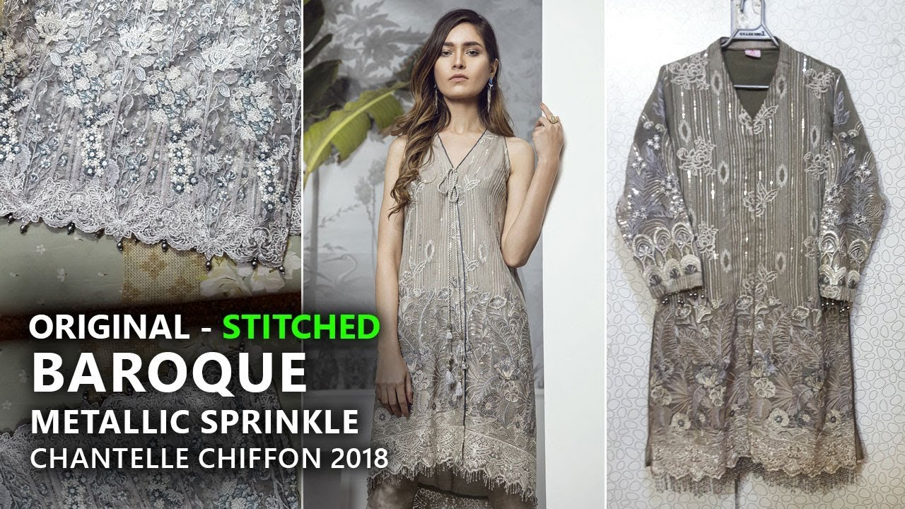 Baroque Chantelle Chiffon Collection 2018 - Stitched Metallic Sprinkle Pakistani  Branded Clothes f60521444