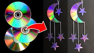 DIY Waste CD Crafts | MOON and STAR Waste CD | C D Wall Hanging Easy | Part-2 | Hand Craft