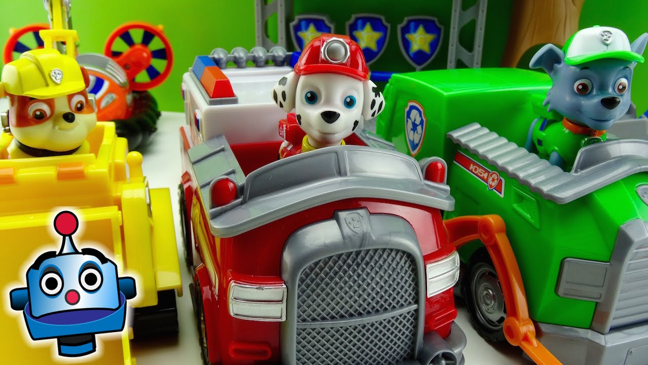 Paw Patrol Rocky Marshall And Rubble Vehicles