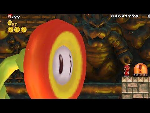 New Super Mario Bros. Wii - Final Boss Evil Fire Flower & Ending