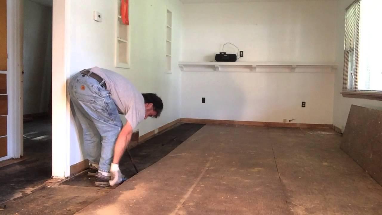 Remove plywood to install 3 4 hardwood floor youtube for Installing 3 4 inch hardwood flooring