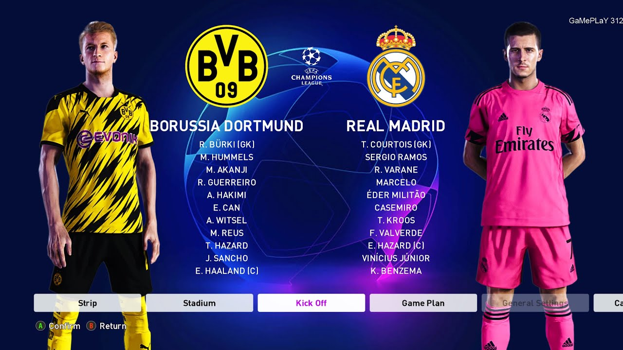 Pes 2020 Borussia Dortmund Vs Real Madrid Uefa Champions League Ucl New Kits 20 21 Season Youtube