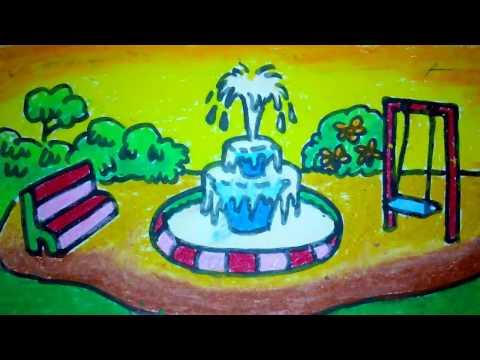 Cara Menggambar Air Mancur Di Taman Untuk Anak Sd