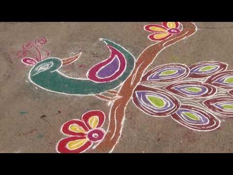 Prize winnging Rangoli by Kavitha Yadav of class 10
