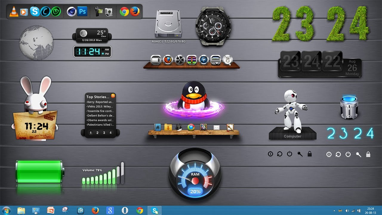 Comment personnaliser son pc windows fond 2 xwidget tuto fr youtube - Personnaliser son bureau windows 7 ...
