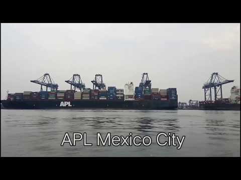 Container Ship APL Mexico City Berthing and Loading at Jakarta Port of Indonesia