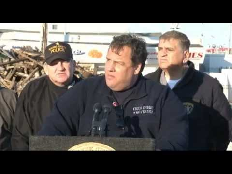 Governor Christie Hurricane Sandy Recovery Press Briefing In Seaside Park
